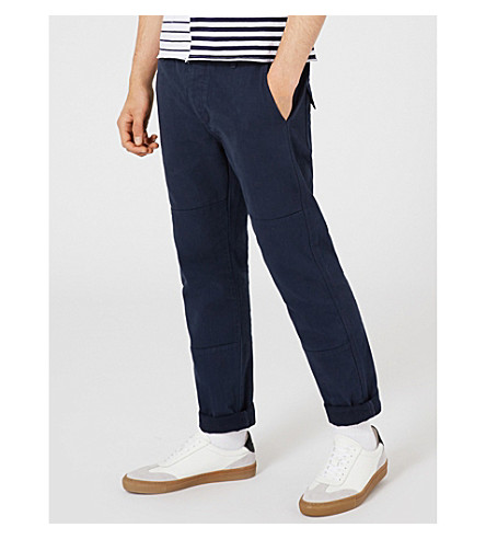 TOPMAN Tapered cotton-twill trousers (Dark+blue