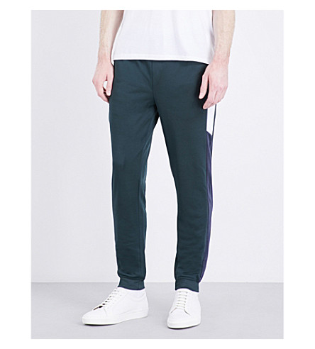 TOPMAN Side-stripe stretch-jersey jogging bottoms (Dark+green