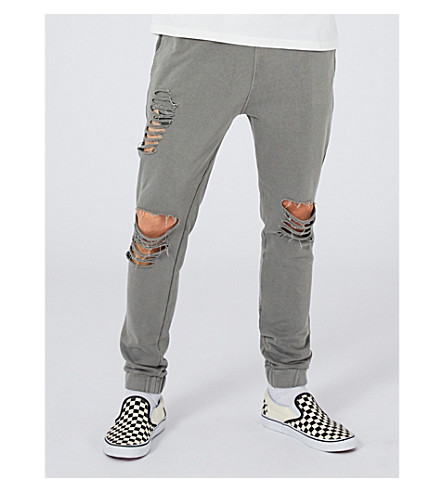TOPMAN Ripped cotton-jersey jogging bottoms (Black