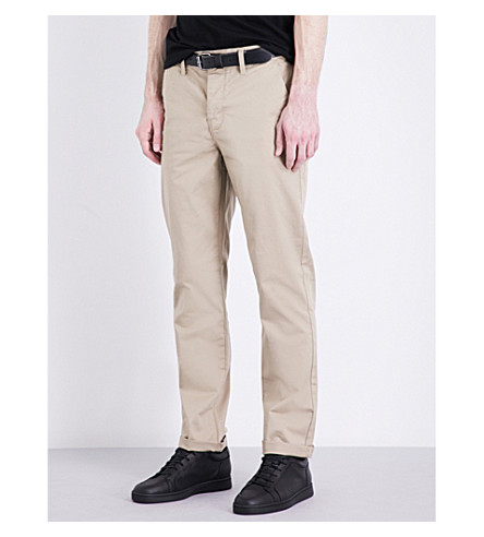 TOPMAN Standard-fit stretch-cotton chinos (Stone
