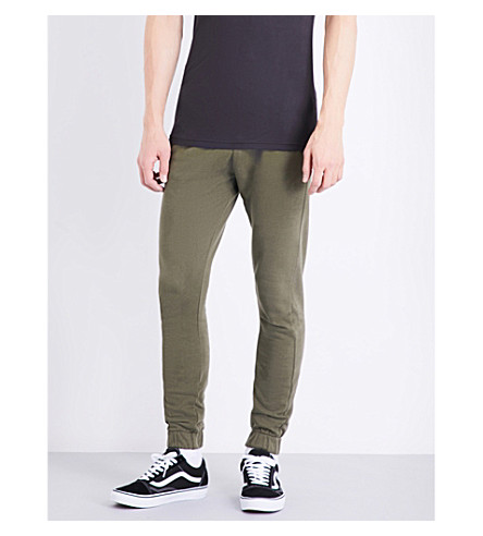 TOPMAN Relaxed-fit skinny cotton-jersey jogging bottoms (Khaki