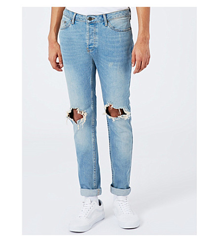 TOPMAN Polly Blow Out distressed slim-fit skinny jeans (Blue