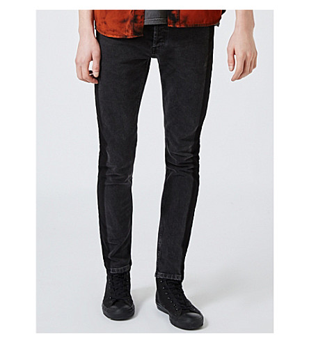 TOPMAN Side Stripe skinny tapered jeans (Black