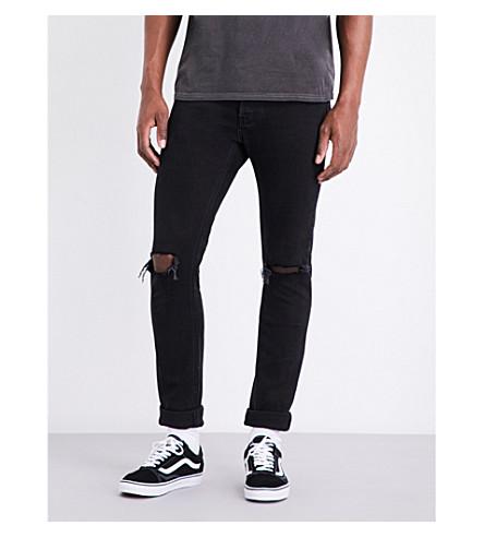 TOPMAN Freeway distressed skinny-fit jeans (Black