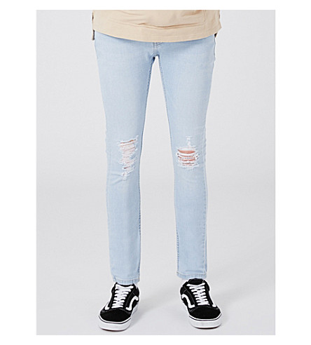 TOPMAN Light Wash Blue Ripped Spray On skinny jeans (Blue