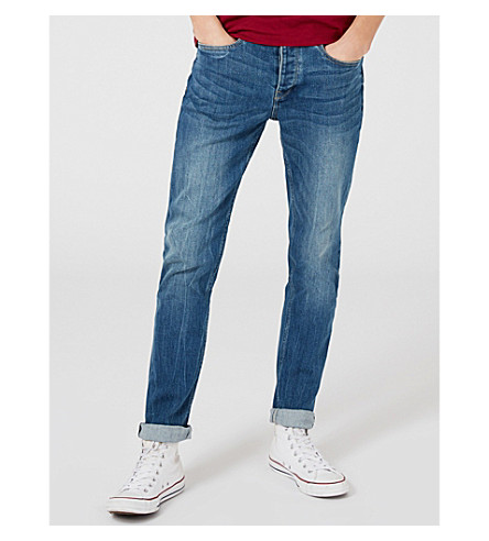 TOPMAN Slim-fit tapered stretch-denim jeans (Grey