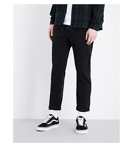 TOPMAN Freeway standard-fit tapered jeans (Black