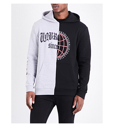 TOPMAN Contrast panel cotton-blend hoody