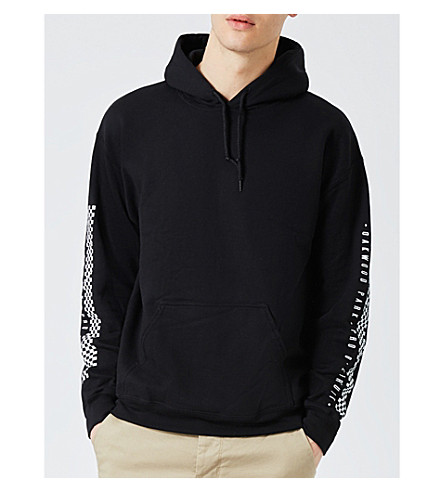 TOPMAN Motocross-print cotton-jersey hoody (Black