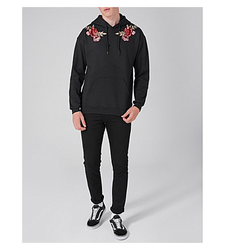 TOPMAN Rose-embroidered jersey hoody (Black