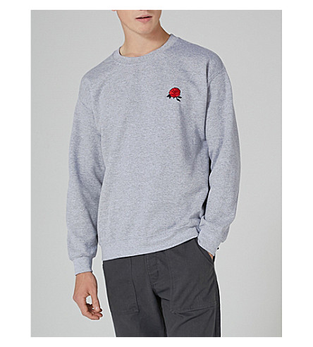 TOPMAN Embroidered-rose cotton-blend sweatshirt (Light+grey
