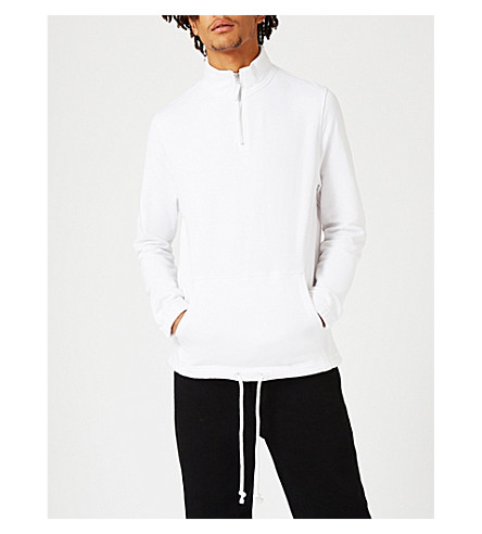 TOPMAN Zip-up cotton-jersey sweatshirt (White