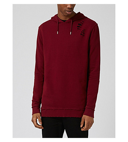 TOPMAN Distressed cotton hoody (Burgundy