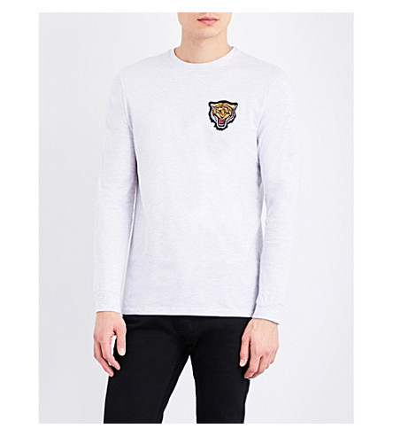 TOPMAN Tiger-logo crewneck cotton-jersey top (Light+grey
