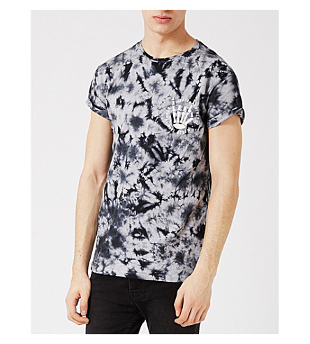 TOPMAN Tie-dye cotton T-shirt (Mid+grey