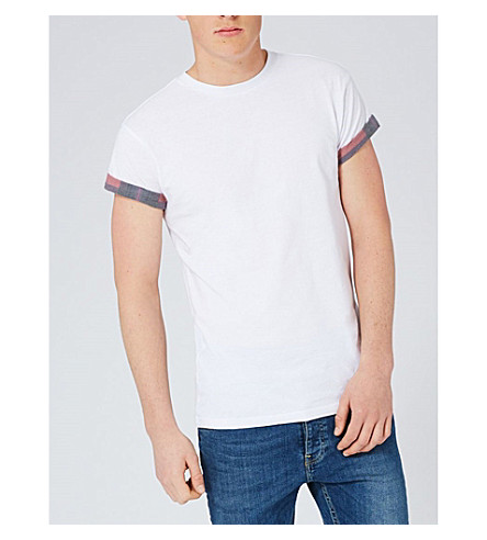 TOPMAN Check-detail cotton-jersey T-shirt (White