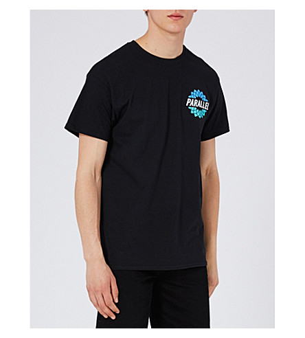 TOPMAN Parallel cotton-jersey T-shirt (Black