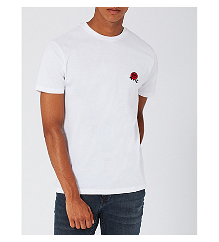 TOPMAN Slim-fit rose-embroidered cotton-jersey T-shirt (White