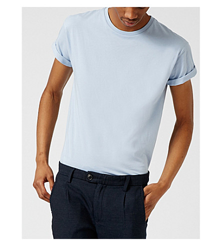 TOPMAN Muscle-fit cotton T-shirt (Light+blue