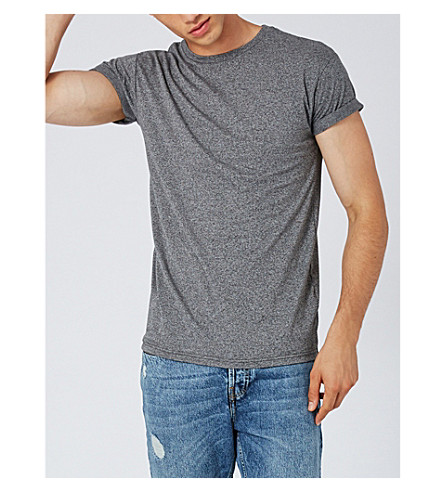 TOPMAN Muscle-fit cotton-blend T-shirt (Mid+grey