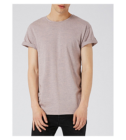 TOPMAN Muscle-fit marled cotton-blend T-shirt (Pink