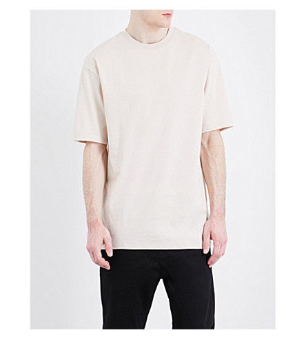 TOPMAN Oversized cotton-jersey T-shirt (Off+white