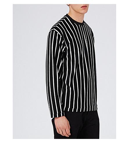 TOPMAN Striped towelling sweatshirt (Black