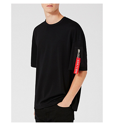 TOPMAN MA1 zip-detail jersey T-shirt (Black
