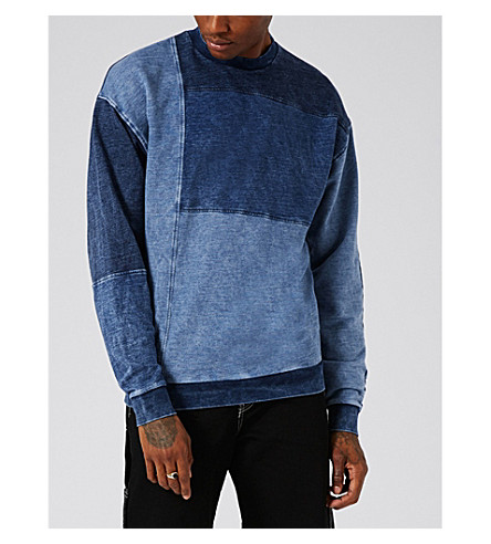 TOPMAN Panelled denim sweatshirt (Light+blue