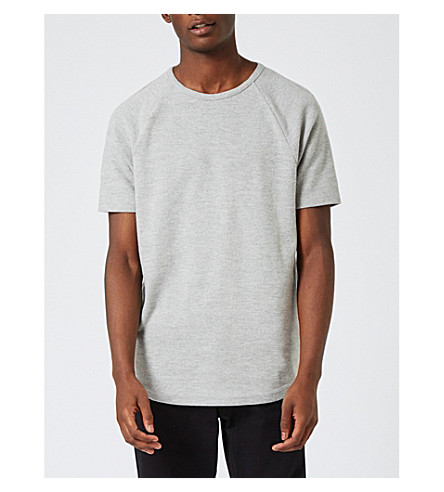 TOPMAN Washed cotton-blend T-shirt (Mid+grey