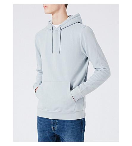TOPMAN Classic-fit jersey hoody (Light+blue