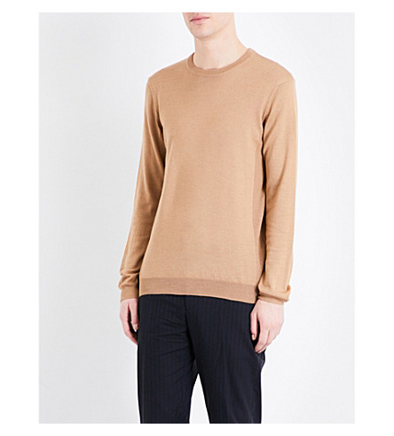 TOPMAN Classic-fit merino wool-blend jumper (Light+brown