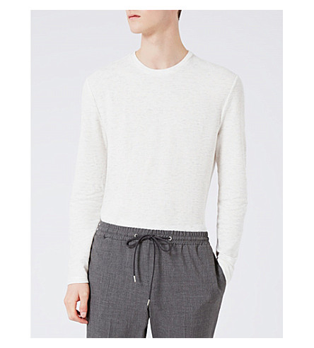 TOPMAN Textured long-sleeved jersey top (Off+white