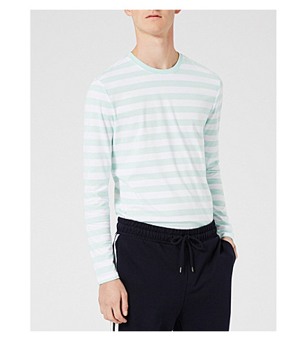 TOPMAN Striped cotton-blend top (Light+blue