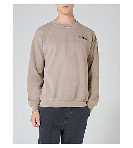 TOPMAN Bee-embroidered jersey sweatshirt (Light+brown