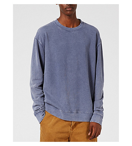 TOPMAN Washed cotton-blend sweatshirt (Light+blue
