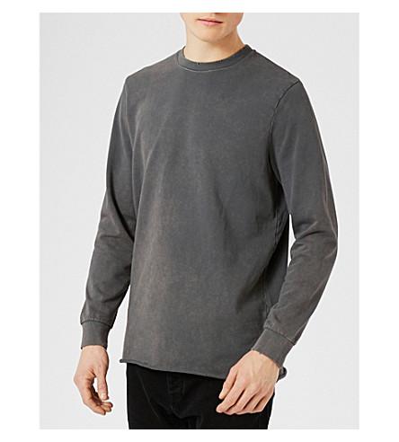TOPMAN Raw cotton-jersey top (Light+grey