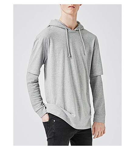 TOPMAN Layered-sleeve cotton-jersey hoody (Grey