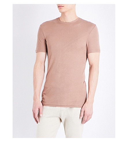 TOPMAN Topman Premium Boxy-fit jersey t-shirt (Light+brown