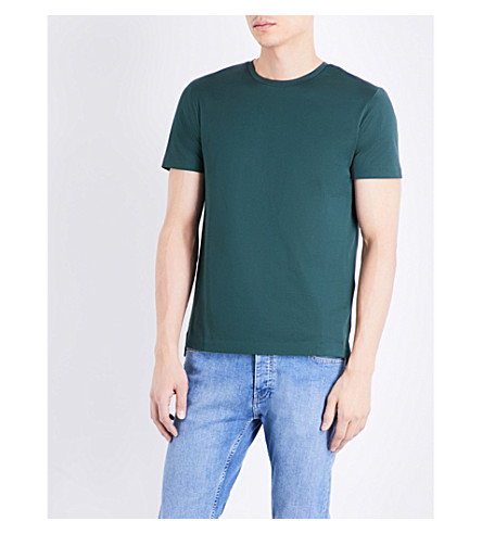 TOPMAN Topman Premium Mercer cotton-jersey t-shirt (Dark+green