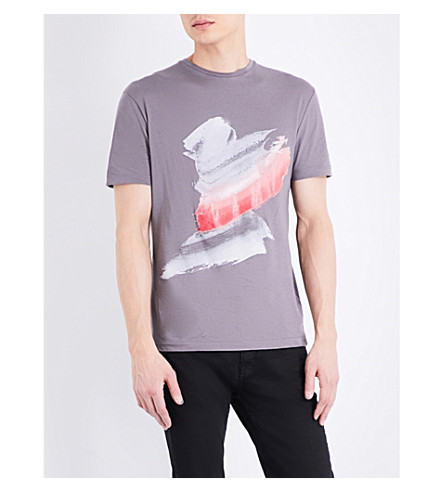 TOPMAN Premium Splat-print cotton-jersey t-shirt (Dark+grey
