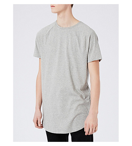 TOPMAN Nathan zip-detail jersey T-shirt (Mid+grey