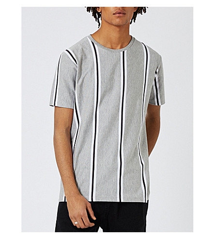 TOPMAN Stripe-print cotton-blend T-shirt (Light+grey
