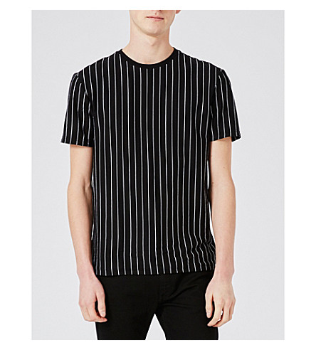 TOPMAN Striped cotton T-shirt (Black