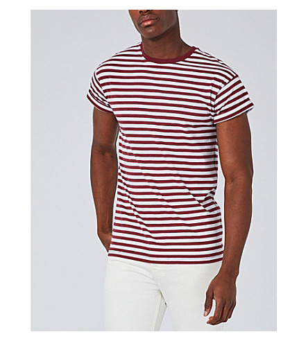 TOPMAN Rover cotton T-shirt (Burgundy
