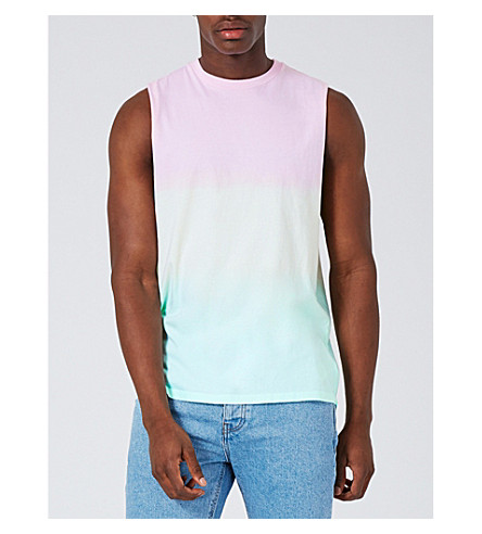 TOPMAN Rainbow oversized cotton-jersey vest top (Multi