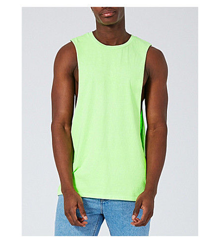 TOPMAN Dropped armhole cotton-jersey vest top (Dark+green