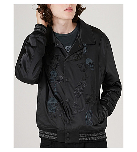 TOPMAN Topman x James Bay Embroidered Varsity Jacket (Black