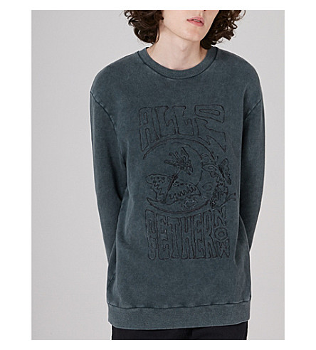 TOPMAN Topman x James Bay embroidered cotton-jersey sweatshirt (Grey