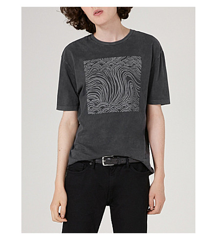TOPMAN Topman x James Bay waves-print cotton-jersey T-shirt (Black